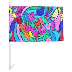 groovy psychedelic peace and love car flag | Zazzle.com