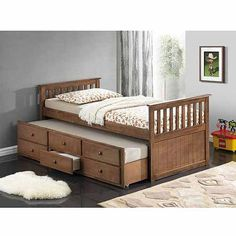 Broyhill Kids Marco Island Captain's Bed with Trundle Bed and Drawers, Dove Brown