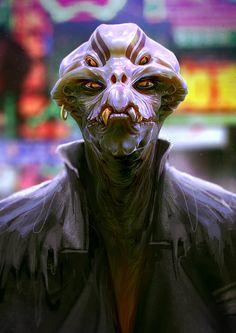 Cyberpunk Alien street thug, inspired from the Japanese mythology monster Kappa. Alien Character, Character Art, Character Design, Alien Concept Art, Game Concept Art, Aliens, Space Fantasy, Dark Fantasy, Ufo