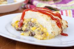 Pâté chinois avec ketchup ! French Canadian Shepherd pie with corn and ground beef - Stock Footage | by Juliedeshaies