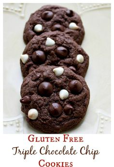 Milk chocolate, dark chocolate and white chocolate chips are loaded into these gluten free chocolate cookies - for serious chocolate lovers!