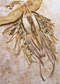 Large Hand Stitched Deerhide Medicine Bag with by deserttalismans