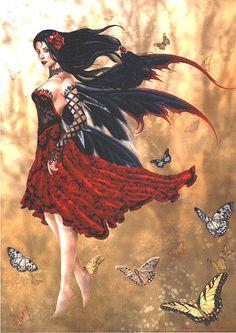 Nene Thomas Ceramic Tile Art -- Flamenco Spanish Fairy -- Retired