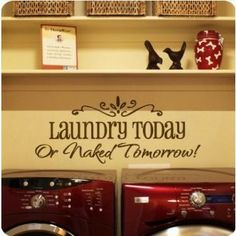 quote wall art sticker  - Laundry today Removable wall art