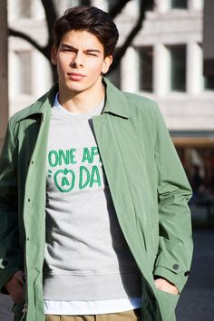 Lighten up #saturdayssurfnyc #coat #green #ami #amiparis #sweater #menslook