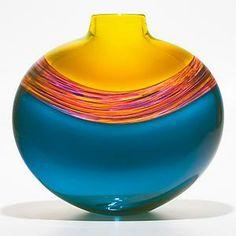 Transparent Banded Vortex Flattened Vase: Michael Trimpol: Art Glass Vase - Artful Home