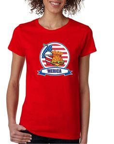 Women's T Shirt Fast Food 'merica Love USA 4th Of July  #america #tshirt #patriotic #fastfood #ustrendy