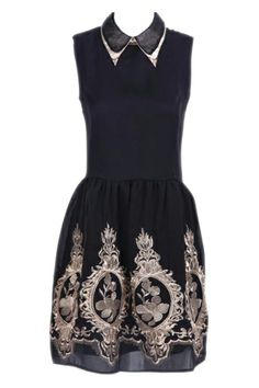 ROMWE | Zippered Flower Embroidered Pleated Black Dress, The Latest Street Fashion