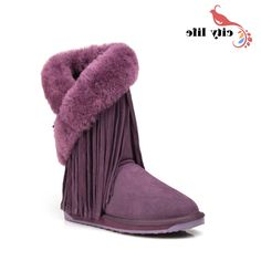 54.76$  Buy now - http://alip0j.worldwells.pw/go.php?t=32517937386 - 2015 Women Flat Tassel Winter Boots Woman Genuine Leather Snowboots Chaussure Femme Nature Fur Shoes 54.76$