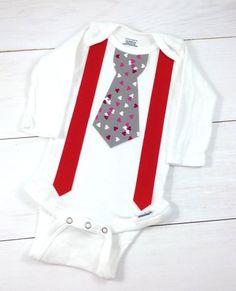Little Man Valentines Day Tie and Suspenders Onesie - Baby