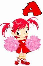 Alfabeto Animado de Cheerleader sacando la lengua. | Oh my Alfabetos!