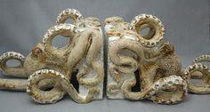 Octopus Book Ends Ceramic Sculpture: Beach Decor, Coastal Home Decor, Nautical Decor, Tropical Island Decor & Beach Cottage Furnishings