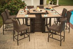 Franklin wood tile bar height fire pit dining 15 pc set fire pits fremont fire bar table the fremont fire bar table is an innovative new piece that combines a bar height table with a gas fire pit and is sure to make your watchthetrailerfo