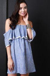 Striped Off The Shoulder Cotton Dress