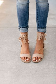 Selly Ankle Wrap Sandals - Taupe – Mindy Mae's Market Women shoes flats and comfortable Shoes 2018, Ankle Wrap Sandals, Heeled Sandals, Strappy Sandals, Cute Sandals, Cute Flats, Gladiator Sandals, Cute Shoes Heels, Pretty Heels