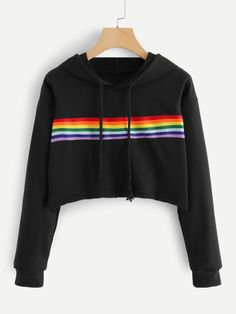 To find out about the Rainbow Print Sweatshirt at SHEIN, part of our latest Sweatshirts ready to shop online today! Cute Comfy Outfits, Stylish Outfits, Cool Outfits, Girls Fashion Clothes, Teen Fashion Outfits, Printed Sweatshirts, Hooded Sweatshirts, Looks Adidas, Trendy Hoodies
