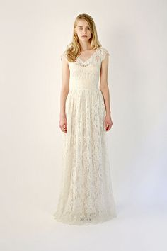 Lace Cap-Sleeve Wedding Gown  Elissa by Leanimal on Etsy