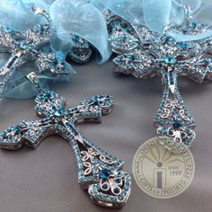 Jewelled hanging cross ornament for baptism, christening, communion and confirmation. Stunning jewel encrusted cross with sash can be used as Christmas ornament or religious decor piece.     Bomboniere gifts Woodbridge vaughan giftware favours favors religious
