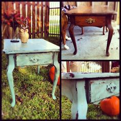 Shabby Chic table in Duck Egg Blue. Distressed and sealed with clear & dark wax.