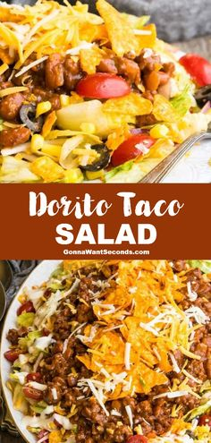 *NEW* Dorito taco salad is an addictingly delicious hearty meal that comes together with minimal effort to satisfy Tex-Mex cravings and endless appetites. #Doritos #DoritoSalad #Taco #TacoSalad #Salad