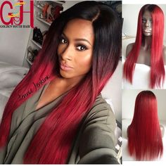 132.00$  Buy here - http://aliyro.worldwells.pw/go.php?t=32342143378 - Free Shipping Brazilian Virgin Hair Full Lace Human Hair Wigs Red Straight Glueless Lace Front Wigs U Part Wigs Ombre Two Tone