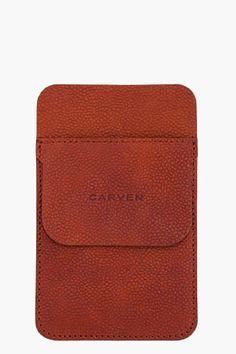 Carven Brown Leather Pocket Protector for Men   SSENSE