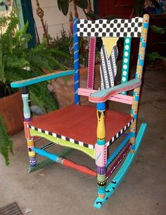 Hand Painted Rocking Chair  FREE SHIPPING by PeaceOnTheRocks, $500.00