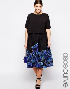 ASOS CURVE Midi Dress In Border Floral Print With Double Layer
