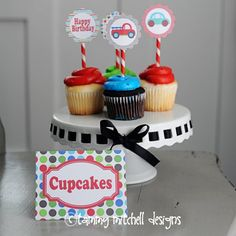 car/truck transportation party baby shower cupcake toppers