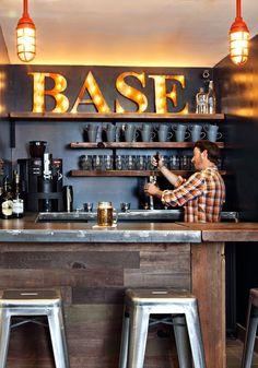 South Lake Tahoe (South Lake Tahoe, CA This intimate coffee shop-slash-bar is a cozy spot to mingle and swap stories.This intimate coffee shop-slash-bar is a cozy spot to mingle and swap stories. Man Cave Basement, Man Cave Garage, Basement Bedrooms, Basement Bathroom, Cozy Basement, Rustic Basement Bar, Teen Basement, Man Cave Shed, Industrial Basement