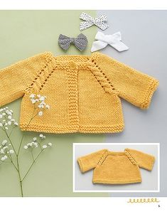 Adorable Baby Cardigans - 9 Quick Projects knitted from the top down - Easy Baby Knitting Patterns, Baby Cardigan Knitting Pattern Free, Knitted Baby Cardigan, Toddler Sweater, Knit Baby Sweaters, Baby Ruffle Romper, Baby Dress, Crochet Lovey, Baby Coat