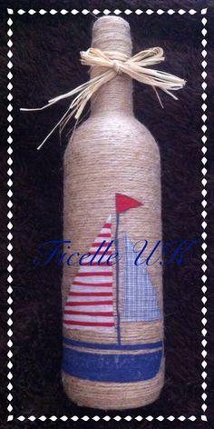 Handmade nautical twine bottle