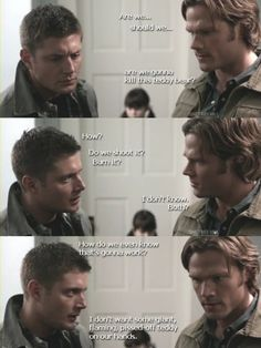 "Actual dialogue from the BEST episode ever. | Supernatural, 4x8 ""Wishful Thinking"""