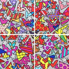 Romero Britto, Huge, 2017,  serigrafia su tela, 4 elementi, cm 249x249 cad.