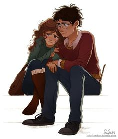 Hermione Granger and Harry Potter by Laura Price for @Sketch_Dailies