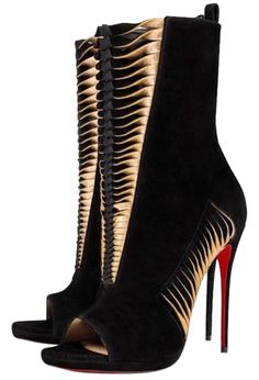 Get the must-have pumps of this season! These Christian Louboutin Black Miss Circus 120 Gold Suede Heel Boots Pumps Size EU (Approx. US Regular (M, B) are a top 10 member favorite on Tradesy. Stilettos, Pumps, High Heels, Pretty Shoes, Beautiful Shoes, Suede Heels, Shoes Heels, Shoes Sneakers, Mode Shoes