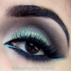 Teal and Black Eye Make Up