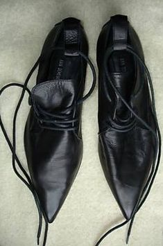 ann demeulemeester black leather shoes