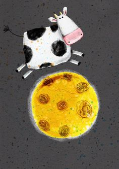 cow that jumped over the moon-cute illustration by Cally Jane Studio Hey Diddle Diddle, Cow Art, Children's Book Illustration, Whimsical Art, Elementary Art, Nursery Rhymes, Painted Rocks, Art Lessons, Zentangle