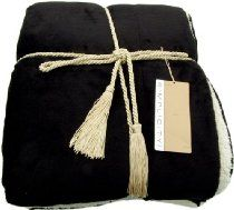 Luxurious Reversible Solid Color Faux Lambs wool Throw Blankets 50 x 60 Black  $29.99