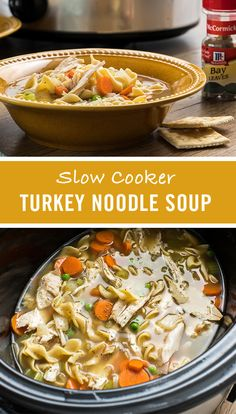 For a delicious Thanksgiving leftovers recipe, put leftover turkey to work in this homemade slow cooker soup. McCormick seasonings, including thyme, garlic powder and bay leaf, combine with traditiona Easy Turkey Soup, Slow Cooker Turkey Soup, Turkey Soup From Carcass, Homemade Turkey Soup, Leftover Turkey Soup, Thanksgiving Leftover Recipes, Thanksgiving Leftovers, Slow Cooker Bean Soup, Tomatoes