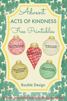 Free Advent Acts of Kindness Printable - 2016 Design. Advent acts of kindness free printables in the shape of Christmas Baubles. These are perfect for printing and adding to advent calendars
