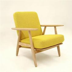 Hans Wegner Cigar Chair with soaped oak frame upholstered with Kvadrat's textile Coda Furniture Styles, Furniture Design, Yellow Armchair, Man Of The House, Danish Furniture, Vintage Chairs, Take A Seat, Fabric Sofa, Mid Century Design