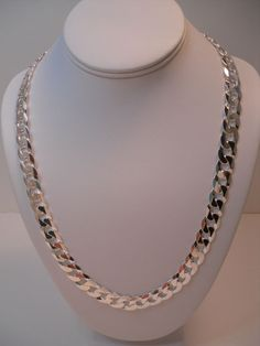 MEN'S ITALY 925 STERLING SILVER DIAMOND CUT FLAT CURB LINK CHAIN BIG BOLD 24""