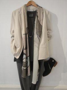 Sandwich jacket - £79.00 Sandwich top - £49.00 Sandwich scarf - £29.00 Sandwich trousers - £89.00 Tutti & Co necklace - £35.00 Cara boot - £99.00