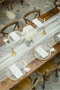 rustic patio reception | gold details | lace runner | lake wedding ideas | #weddingchicks