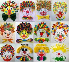 Clown, Arts and Crafts - Arts and Crafts for Teens Source by marijanasugovic Kids Crafts, Clown Crafts, Circus Crafts, Carnival Crafts, Crafts For Teens, Diy For Kids, Diy And Crafts, Arts And Crafts, Paper Crafts