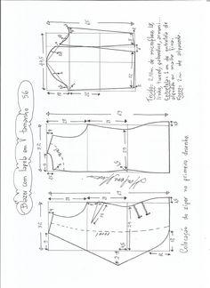 Esquema de modelagem de blazer com lapela tamanho 56.
