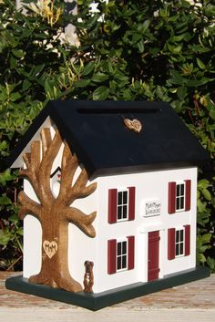Items similar to Wedding Card Box Birdhouse with Heart Carved Tree on Etsy Handmade Items, Handmade Products, Handmade Gifts, Outdoor Projects, Outdoor Decor, Tree Carving, Card Box Wedding, Birdhouse, Folk Art