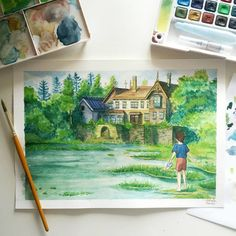 Watercolour study of a screencap from Studio Ghibli's When Marnie Was There. I did a step by step guide that explains my process on instagram:www.instagram.com/_hakashi/ INS...